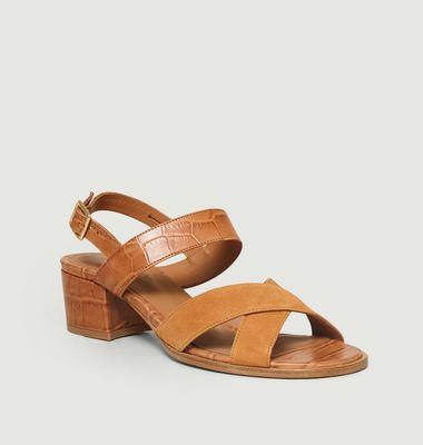 Sandales Uzes Bimatière Croco Velours