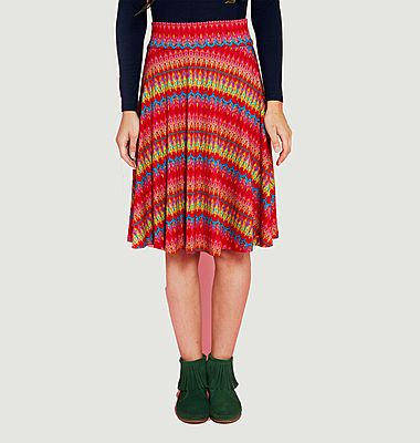 Marthe graphic pattern knit mid-length skirt