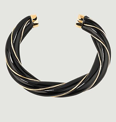Diana resin and gold plated twisted bangle bracelet