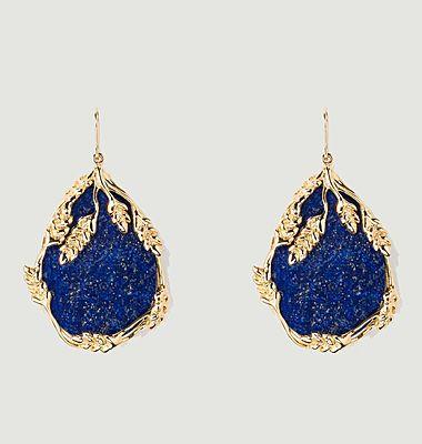 Boucles d'oreilles pendantes plaqué or Françoise Lapis Lazuli