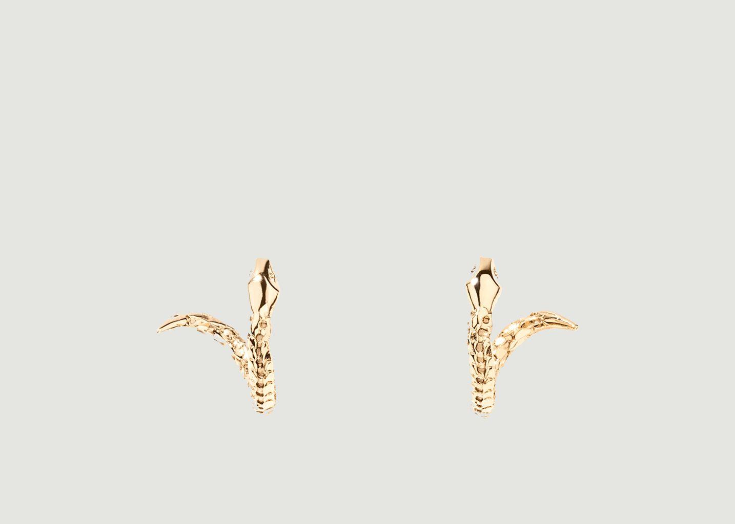 Boucles d'oreilles mini créoles serpent plaqué or Tao - Aurélie Bidermann