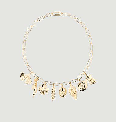 Collier plaqué or chaîne et charms Aurélie