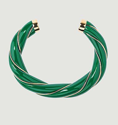Bracelet jonc torsadé résine et plaqué or Diana