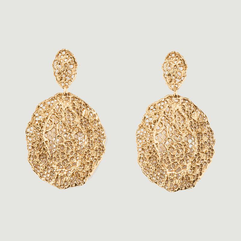 Boucles d'oreilles pendantes plaqué or Dentelle Vintage - Aurélie Bidermann