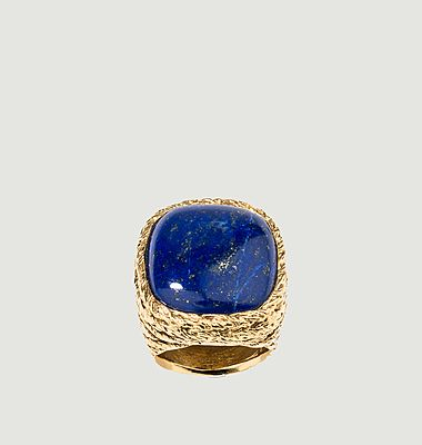 Bague plaqué or Miki Lapis Lazuli