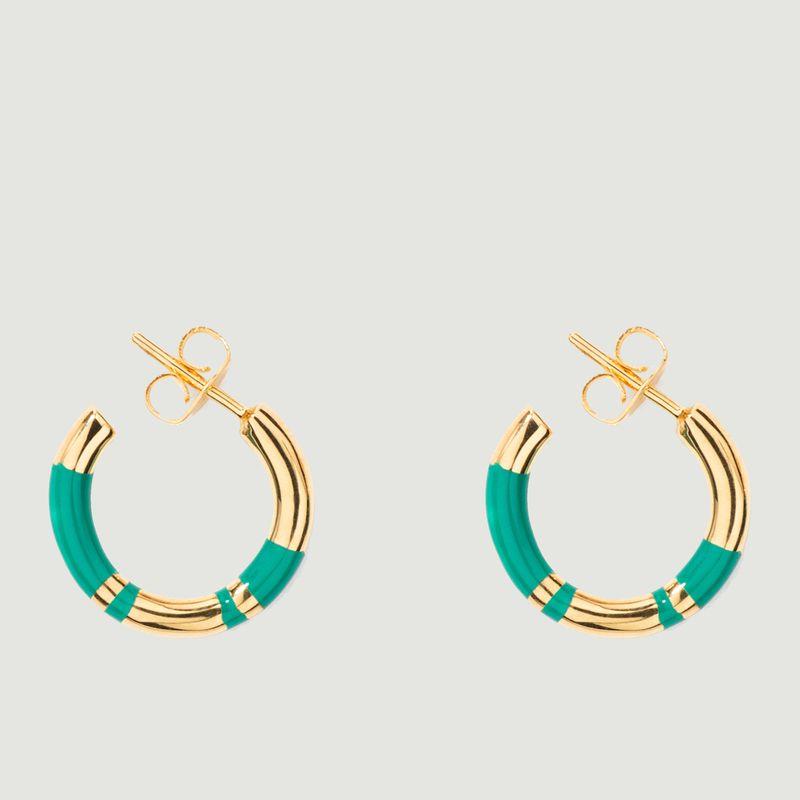 Boucles d'oreilles mini créoles résine et plaqué or Positano - Aurélie Bidermann