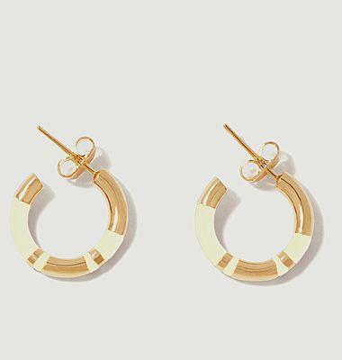 Boucles d'oreilles mini créoles résine et plaqué or Positano