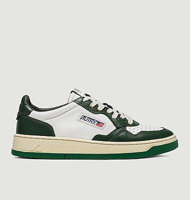 Sneakers Autry 01 Low Man Cuir Blanc Vert