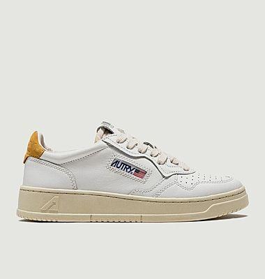 Sneakers 01 Low Man Cuir  Blanc Jaune