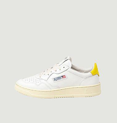 Turnschuhe 01 Low Man Leder Weiß Gelb