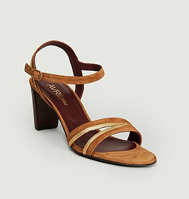 Sandales en cuir suédé et métallisé Alium