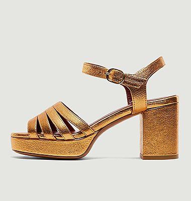 Sandales en cuir grainé métallisé Eban