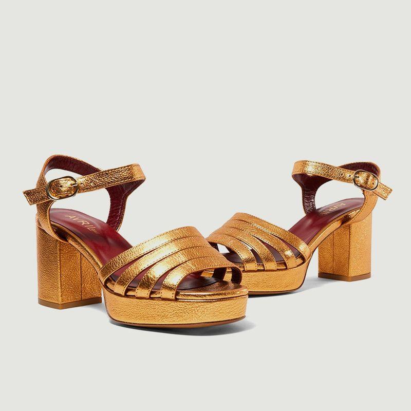 Sandales en cuir grainé métallisé Eban - Avril Gau