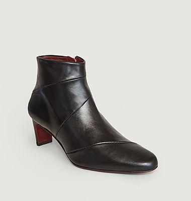 Boots surpiquées en cuir Moune