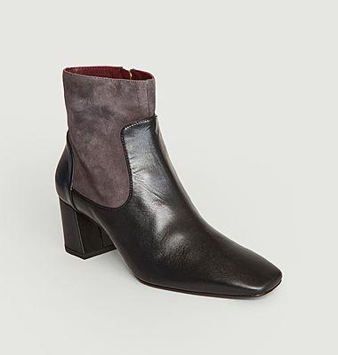 Boots bicolores en cuir bi-matière Nano