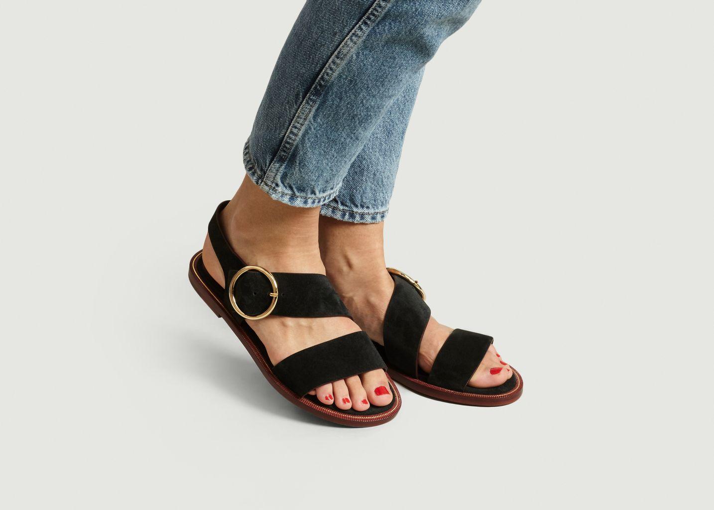 Sandales plates en cuir suédé Travers - Avril Gau