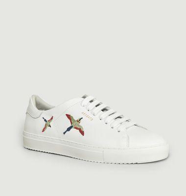 Sneakers En Cuir Avec Broderie Oiseaux Clean 90