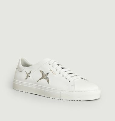 Sneakers En Cuir Clean 90 Avec Oiseaux Brodés