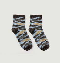 Lurex Ikat Weave Socks