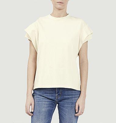 T-shirt en coton à manches plissées Elix