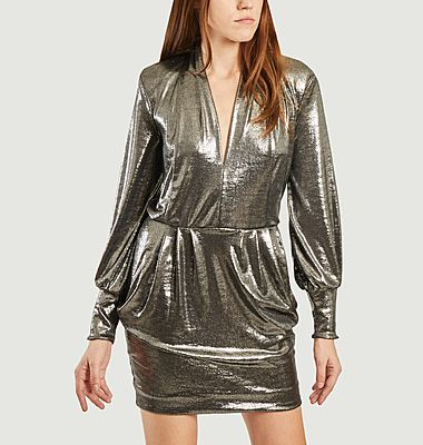 Maelis metallic effect long sleeves dress