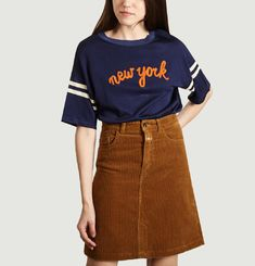 Top Sweat Manches Courtes Brodé New York Fasia