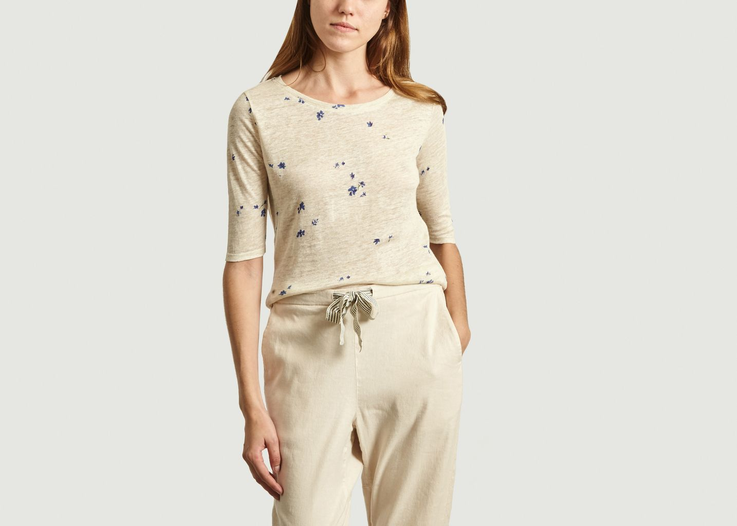 T-Shirt Motif Fleuri En Lin Seas - Bellerose