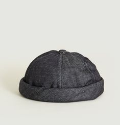 Denim Pompom Hat