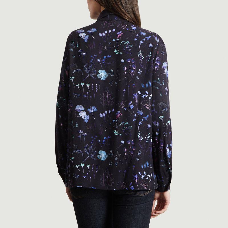 Chemise Motif Fleuri Black Garden - Bleu Tango