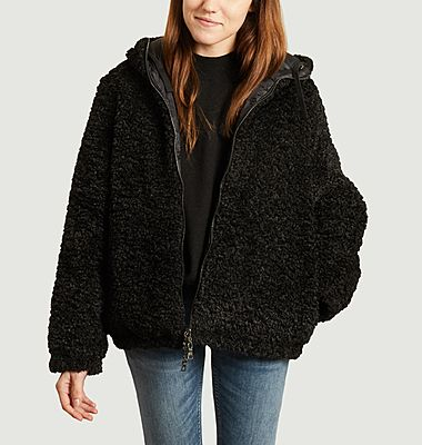 Elena short down jacket with faux-fur lining