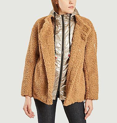Rebecca M faux fur lined hooded short coat