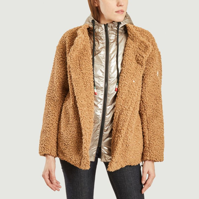 Manteau court effet fourrure doublé à capuche Rebecca M - Blonde No.8