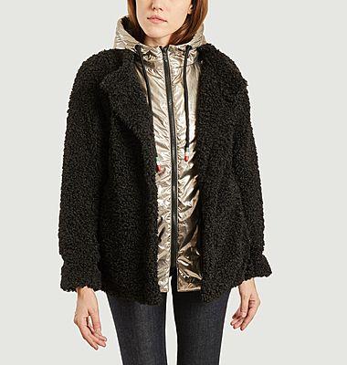 Manteau court effet fourrure doublé à capuche Rebecca M