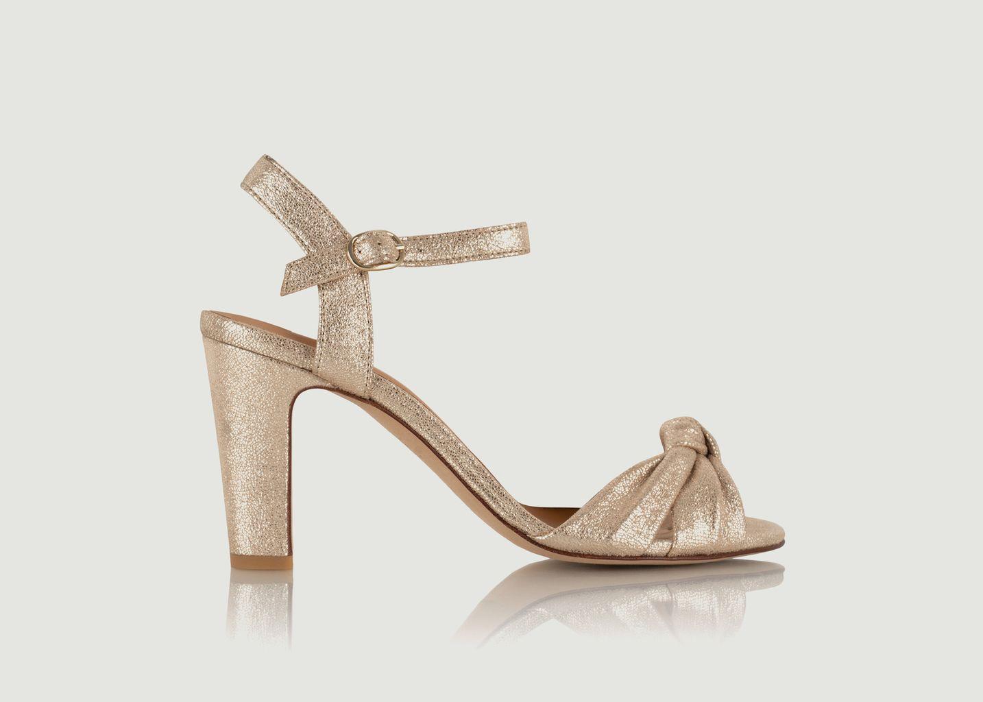 Sandales en cuir craquelé Candice - Bobbies Paris