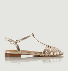 Gaby cracked leather flat sandals
