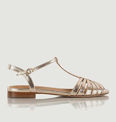 Sandales plates en cuir craquelé Gaby