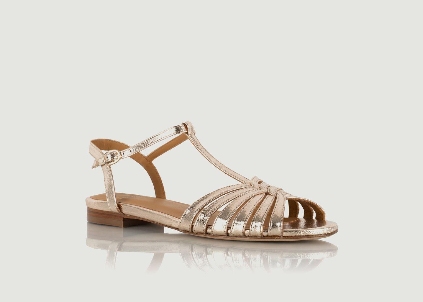 Sandales plates en cuir craquelé Gaby - Bobbies Paris