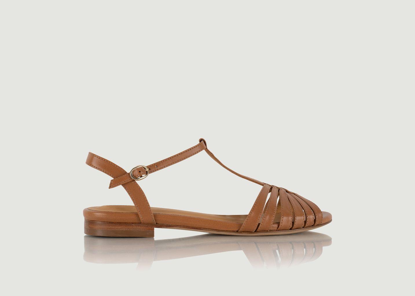 Sandales plates en cuir Gaby - Bobbies Paris