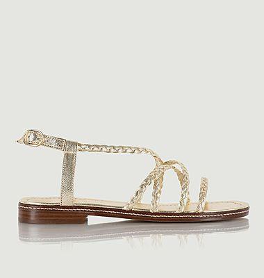 Sandales plates en cuir lamé Artemis