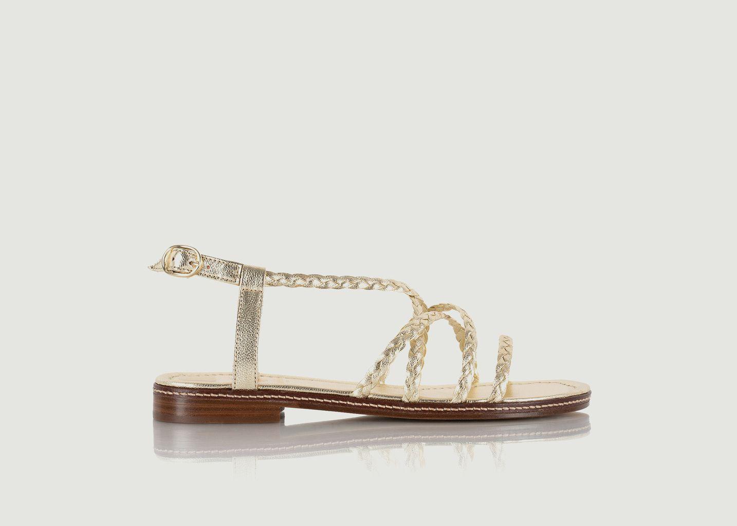 Sandales plates en cuir lamé Artemis - Bobbies Paris