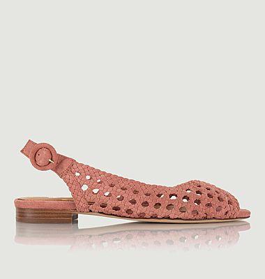 Sandales plates en cuir suédé tressé Lena