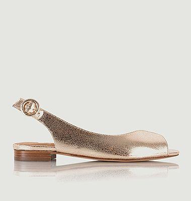 Sandales plates en cuir craquelé Lena