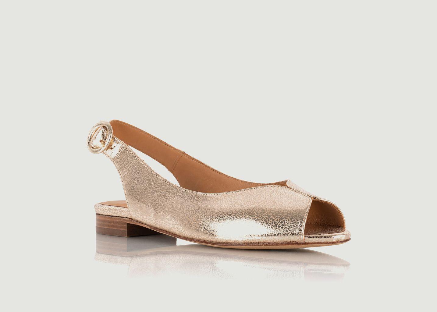Sandales plates en cuir craquelé Lena - Bobbies Paris