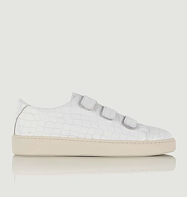 Sneakers en cuir façon croco à scratchs Willow