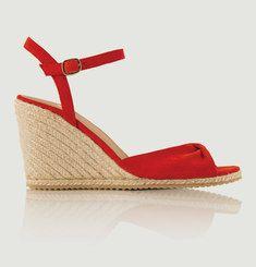 Sandales Compensées En Nubuck Pensive