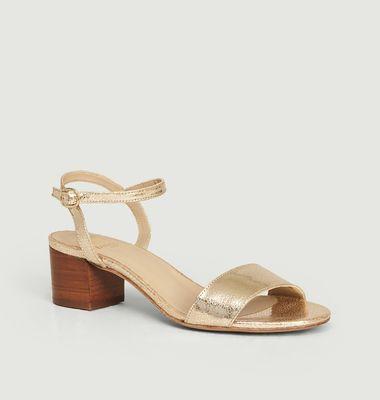 Sandales en cuir craquelé La Rêvée