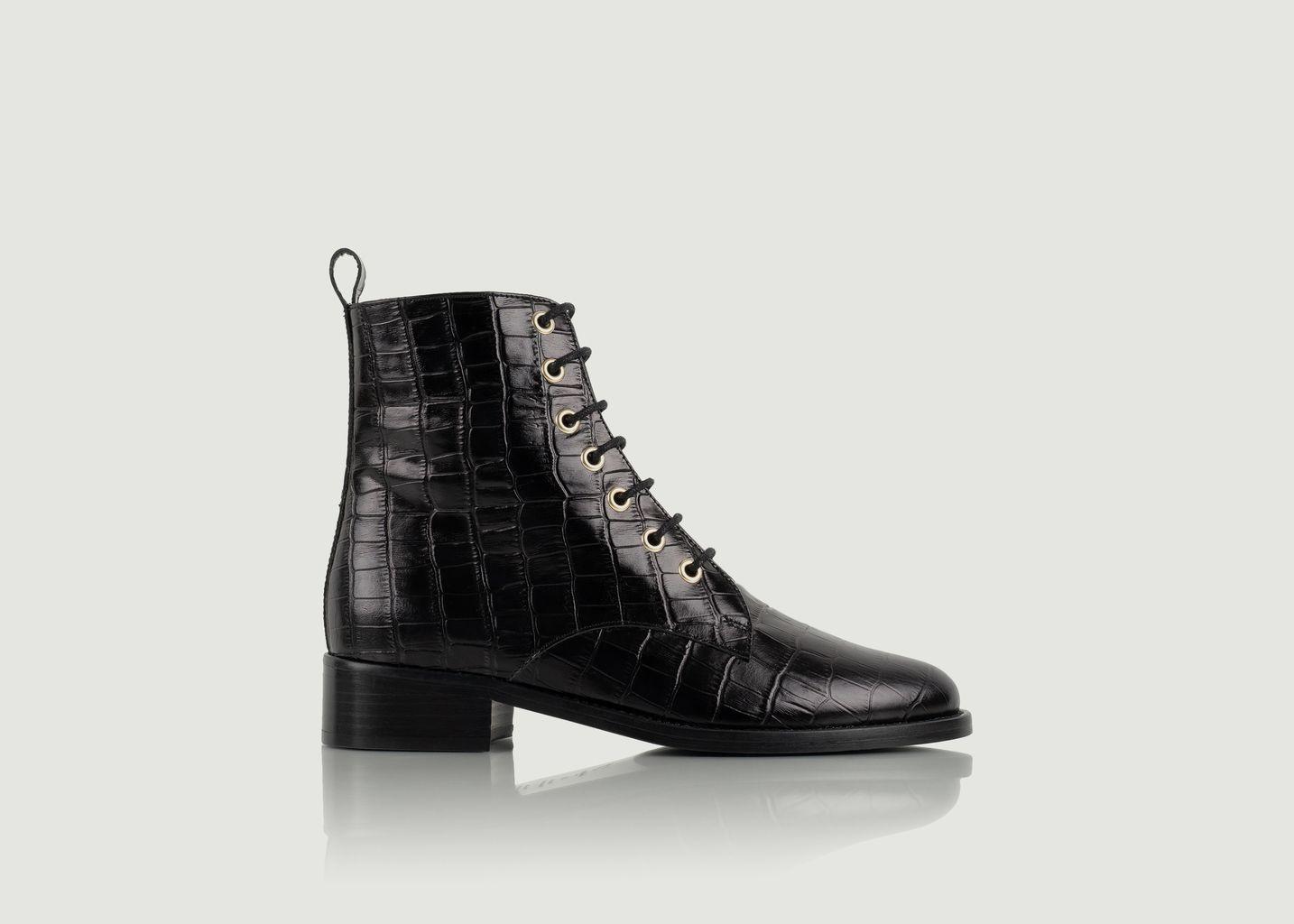 Boots mi-hautes en cuir effet croco à lacets Exploratrice - Bobbies Paris