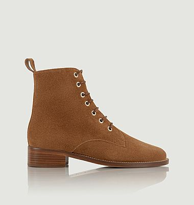 Exploratrice mid-high suede leather lace-up boots