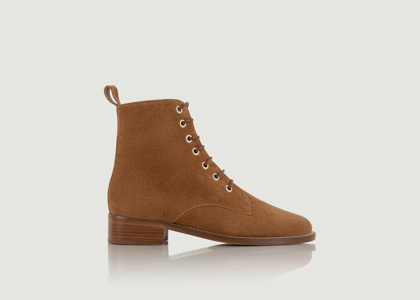 Boots mi-hautes en daim à lacets Exploratrice - Bobbies Paris