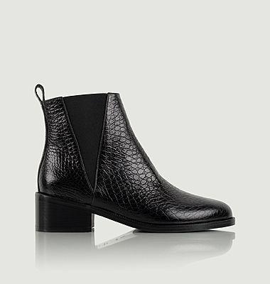Chelsea boots en cuir façon serpent L'entêtée